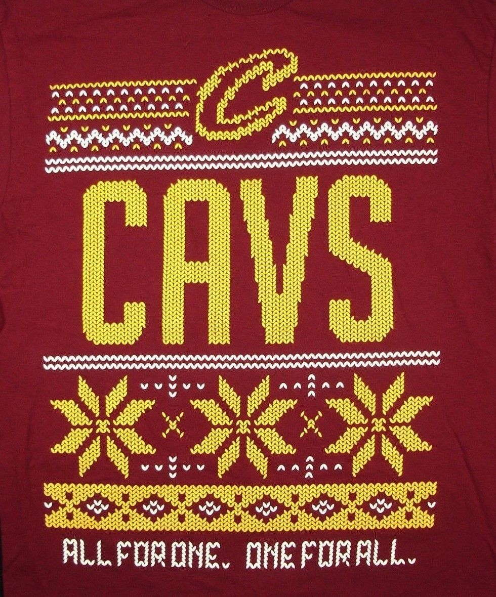 Primary image for Cleveland Cavaliers Cavs Ugly Xmas Sweater Red T Shirt All For One One For All