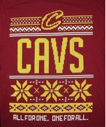 Cleveland Cavaliers Cavs Ugly Xmas Sweater Red T Shirt All For One One F... - $19.99