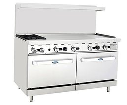 Atosa ATO-2B48G 60'' Gas Range. (2) Open Burners and 48'' Griddle on the RIGHT w - $3,074.00
