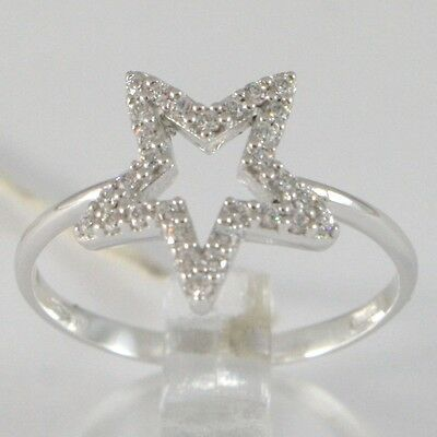 White Gold Ring 750 18K, Star With Zircon, Made IN Italy