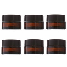 6pcs 20g Empty Cosmetic Container Amber Glass for Face Cream Makeup Loti... - $20.56