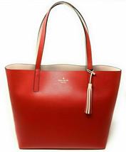 NWT Kate Spade Lakeland Marina Reversible Red / Beige Leather Tote WKRU5342 FS - $124.98