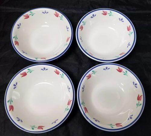 "Design Concepts Cereal Bowls Set of 4, 7"" Soup Bowls, White, Blue Trim Tulips image 9"