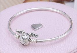 925 Sterling Silver Golden Snitch Clasp Bangle Bangle Bracelet  - $38.00