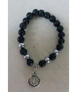 Empowering Jewelry Bracelet Stretchy Black Lava Rock Anchor Tibetan Char... - $3.50