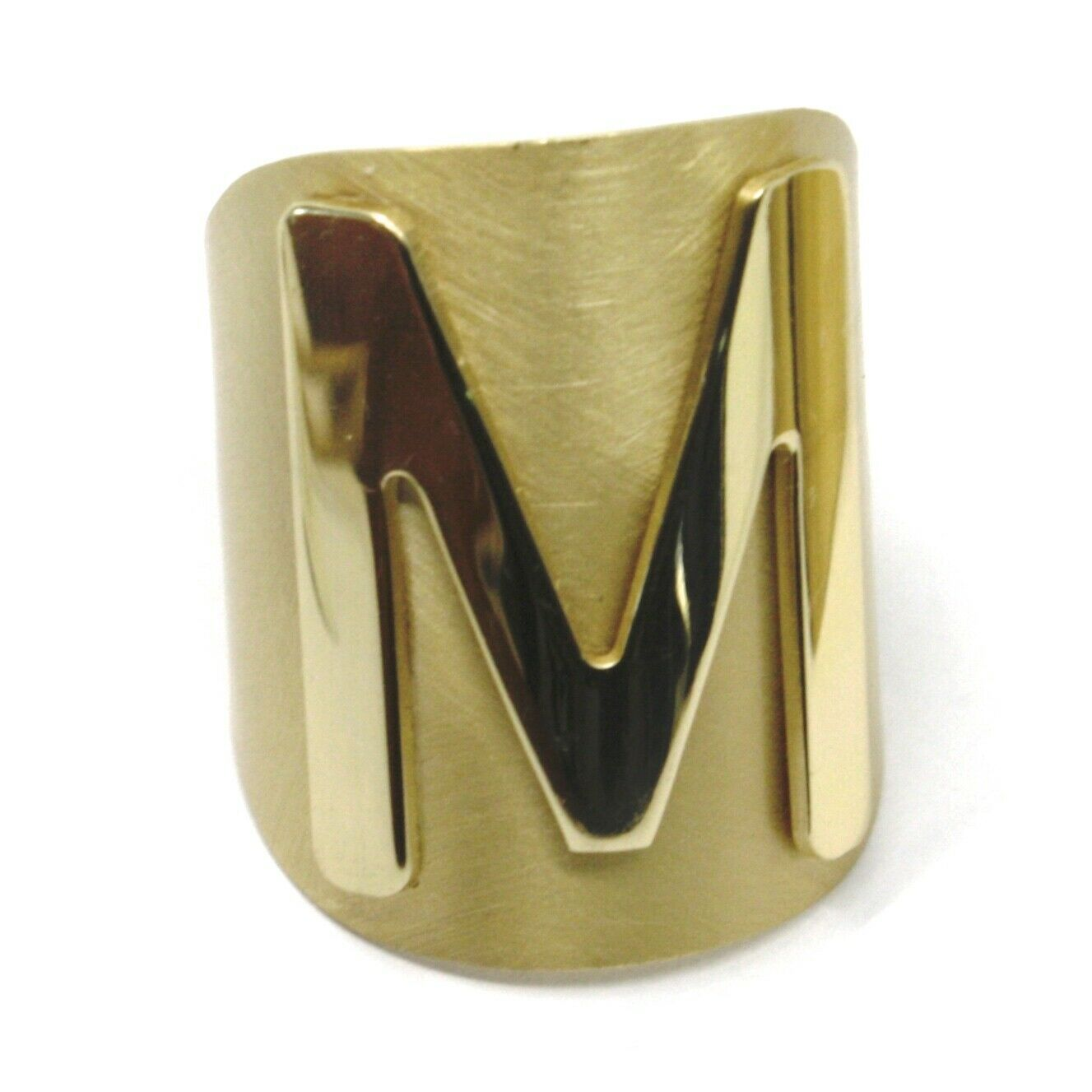 SOLID 925 STERLING SILVER BAND RING, BIG LETTER M, YELLOW SATIN FINISH, SIZABLE