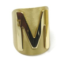 SOLID 925 STERLING SILVER BAND RING, BIG LETTER M, YELLOW SATIN FINISH, SIZABLE image 1