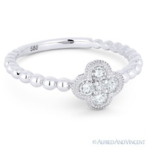 0.21ct Round Brilliant Cut Diamond Pave Flower Charm 14k White Gold 5-St... - €618,74 EUR