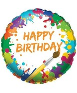 Art Party Happy Birthday Foil Mylar Balloon Supplies 1 Per Package NEW - $2.56