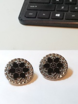 Vintage Polished Cut-Steel Clip earrings Ornate Poured Glass Black - $289.00