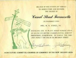 Canal Street Farmerette Certificate New Orleans Louisiana 1950's Agricul... - $24.72