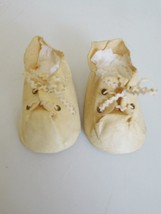 "Huge! Vintage 4"" Off White Oilcloth Tie Shoes f... - $38.99"