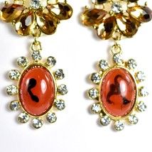 """Mode Red-Brown Lucite Bead 2.5"""" Drop Post Dangle Earrings New with Tag image 2"""