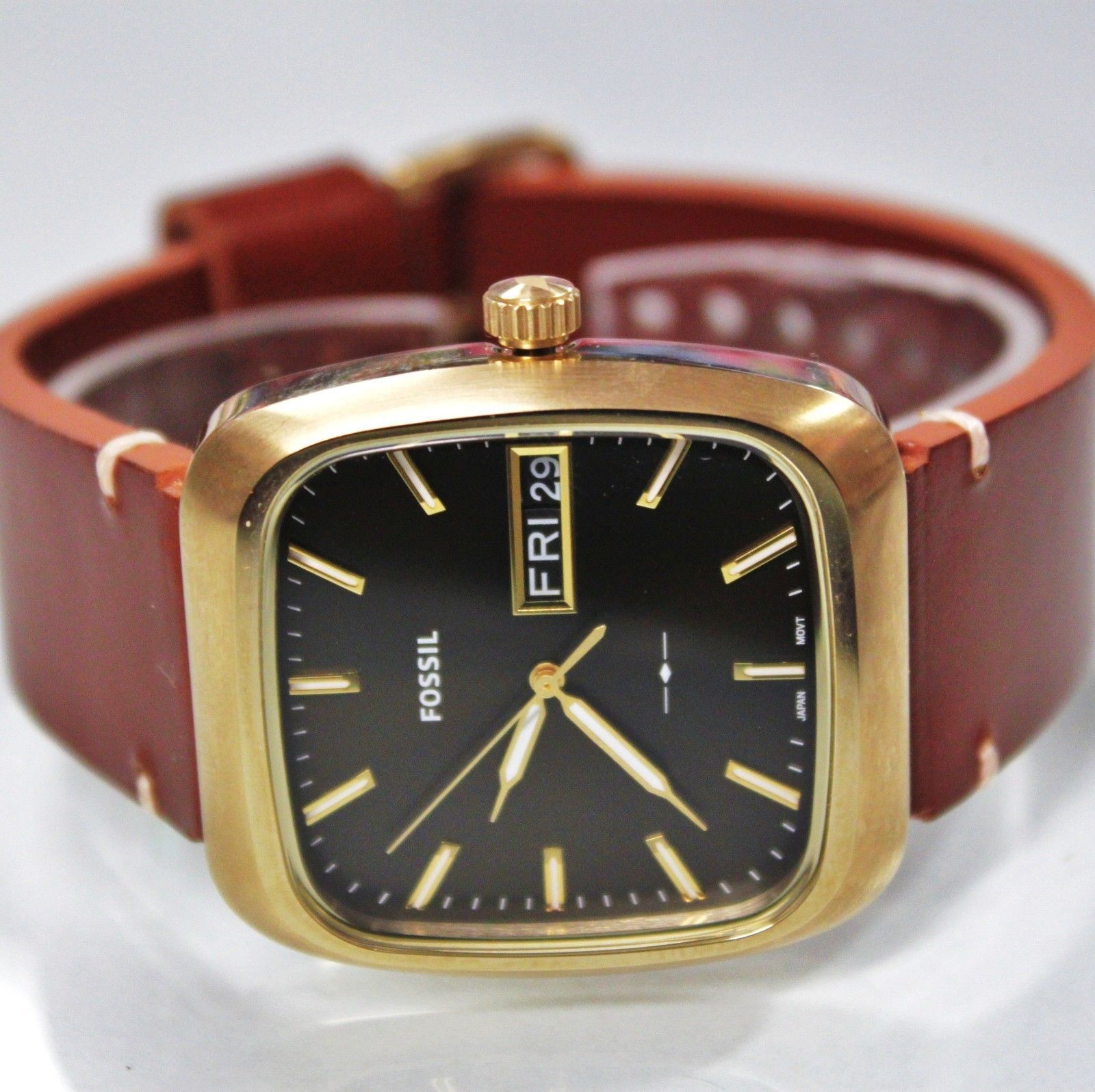 New Fossil FS5332 Rutherford Rectangle Dial Brown Hard Leather Strap Men Watch