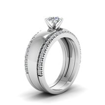 Round cut solitaire ring with diamond band in 14k white gold fd8023troangle2 nl wg thumb200