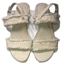 URGE Anthropologie Katie Natural Beige Denim Frayed Sandals EU 40 US 9 - $56.09