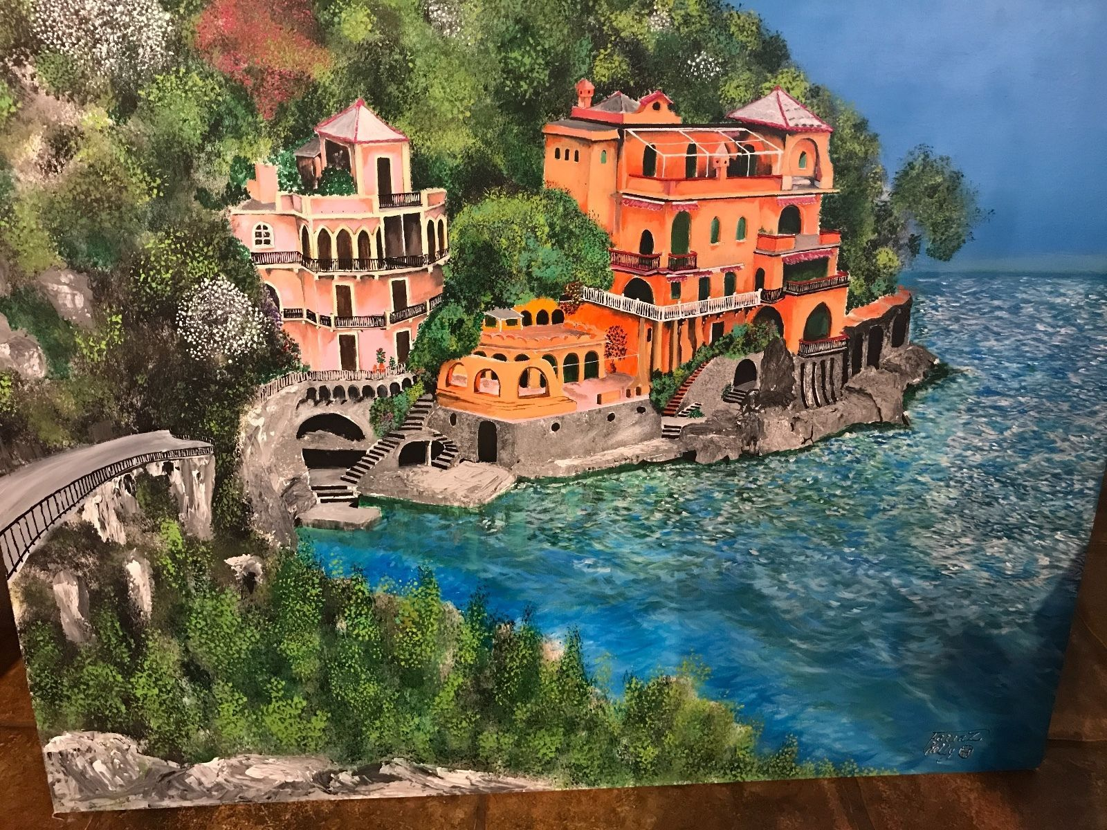 "Primary image for PORTOFINO VILLAGE HARBOUR ART ORIGINAL ""48 x ""36 Signed ACRYLIC CANVAS PAINTING"