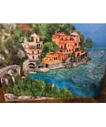 "PORTOFINO VILLAGE HARBOUR ART ORIGINAL ""48 x ""36 Signed ACRYLIC CANVAS P... - $1,154.00"