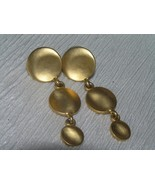 Estate Long Brushed Goldtone Three Tapered Disks Post Earrings for Pierc... - $8.59