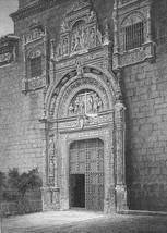 SPAIN Toledo Santa Cruz Museum Hospital - 1860s Antique Engraving Print - $33.66