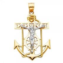 14K Two Tone Gold Jesus Crucifix Anchor Pendant - $255.99