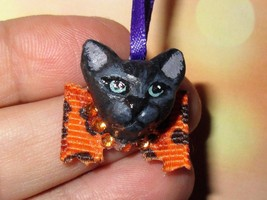 BLACK KITTEN CHARM Ooak Halloween Mini Tree Ornament pet holiday orange ... - €5,05 EUR