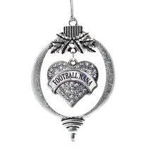 Inspired Silver Football Nana Heart Holiday Christmas Tree Ornament With Crystal - $14.69