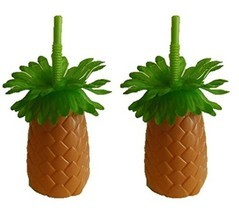 Luau Pineapple Palm Tree Sipper Bottles Cups wi... - $9.89