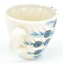 Ceramic Hand Painted Peacock Design Espresso Cup Mug Handmade Guatemala image 4