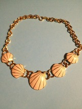 TRIFARI Vintage Enamel SHELL and GoldTone Chain NECKLACE - 17 1/2 inches... - $22.00