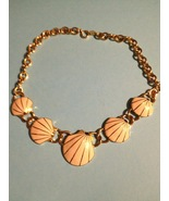 TRIFARI Vintage Enamel SHELL and GoldTone Chain NECKLACE - 17 1/2 inches... - £17.66 GBP