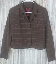 Aeropostale Women's Button-Front Cotton Checkered Jacket (L, Brown) - $14.55