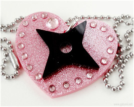 Ninja Girl Pendant, Kunoichi, Acrylic Jewelry, Kawaii - $14.00