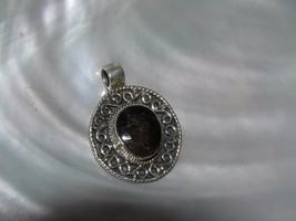 Estate Oval Bronze Quartz Stone in 925 Marked Silver Ornate Frame Pendan... - $12.19