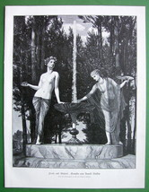 NUDE Muses of Poetry & Painting - VICTORIAN Era Original Engraving by Bo... - $13.49
