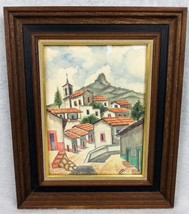 ALBA TAXCO Watercolor Painting FRAMED ART Mexico TILED ROOFS Mountain CH... - $46.08