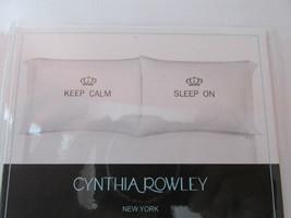 New Cynthia Rowley Keep Calm Sleep On Set of 2 Standard White Pillowcases - $27.60