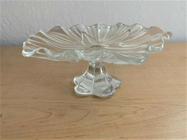 "Mikasa Tulips Satin S0602 Etched Crystal Footed Platter 9.25"" Diameter - $21.78"