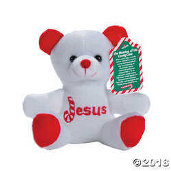Candy Cane Religious Stuffed Bears with Card