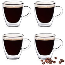 Eparé Espresso Cups, Insulated Glass Demitasse Set 2 oz, 60 ml – Double ... - £18.07 GBP