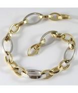 Armband Massiv Gelbgold Weiß 750 18K Mit Ovale Abwechselnde, 21 CM - $2,300.05
