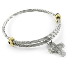 Woman's Two-Tone White Cubic Zirconia CZ Cross Charm Cable Bangle Bra - $59.02