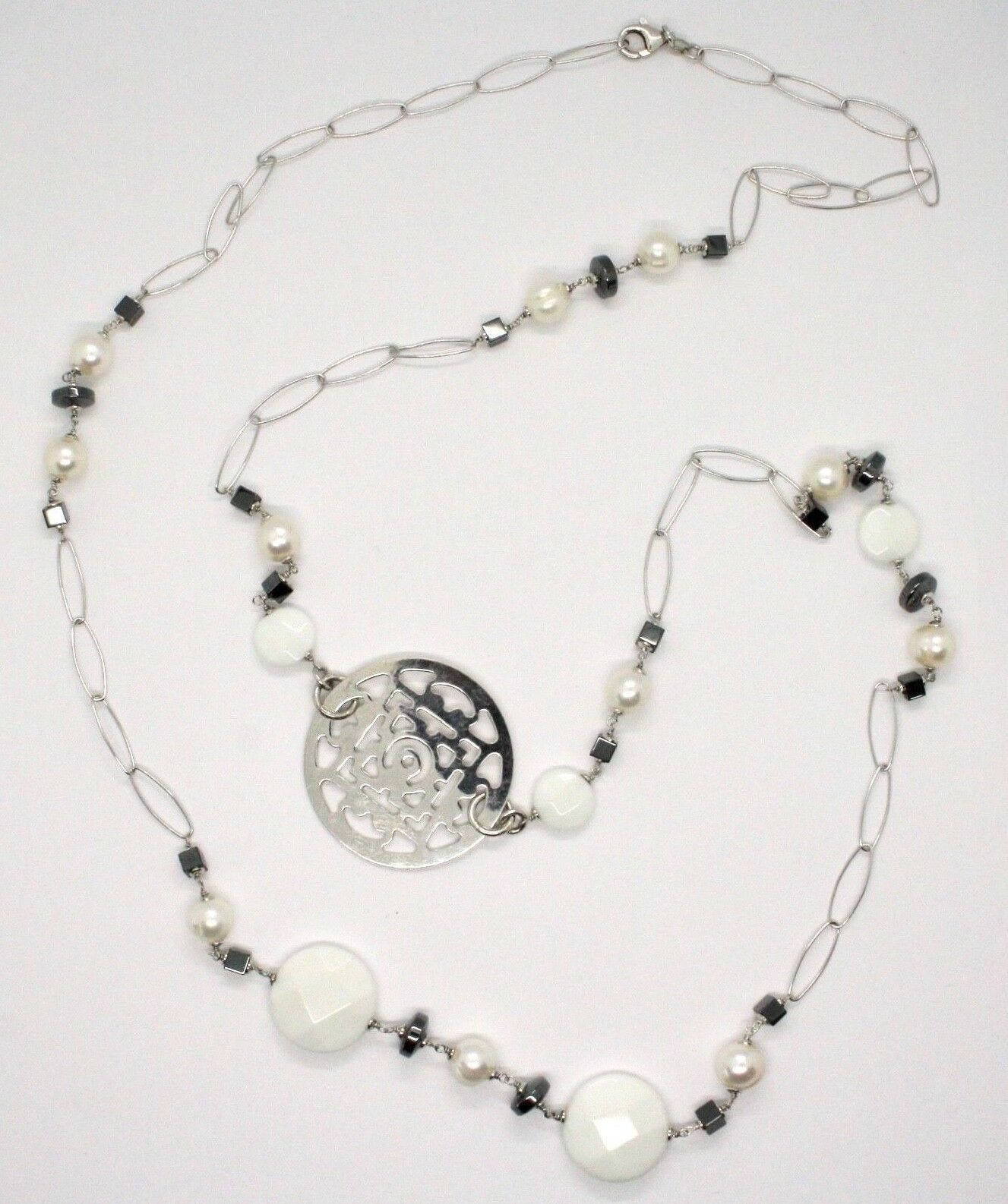 Long Necklace 1 MT Silver 925 with Hematite Agate and Pearls Made in Italy