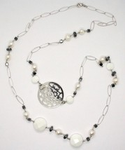 Long Necklace 1 MT Silver 925 with Hematite Agate and Pearls Made in Italy image 1