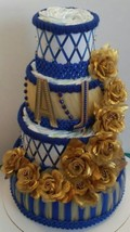 Royal Blue And Gold Little Prince  Themed Baby Shower 4 Tier Diaper Cake... - $80.00