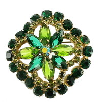 "VINTAGE JULIANA D&E LIME & DARK GREEN SWIRL SQUARE BIG PIN STUNNING 2"" - $89.99"