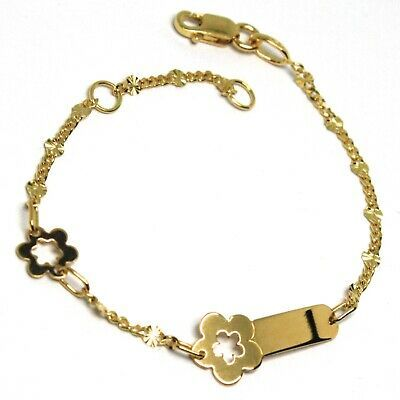 Bracelet Yellow Gold 18K 750, Girls, Plate Flower, Daisy, Length 13 CM