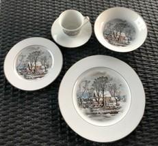 Vintage Avon Currier & Ives Old Grist Mill Porcelain 5-pc Place Setting ... - $23.38