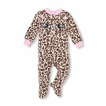 NWT The Childrens Place Leopard Cat Girls Footed Fleece Blanket Sleeper Pajamas - $10.99