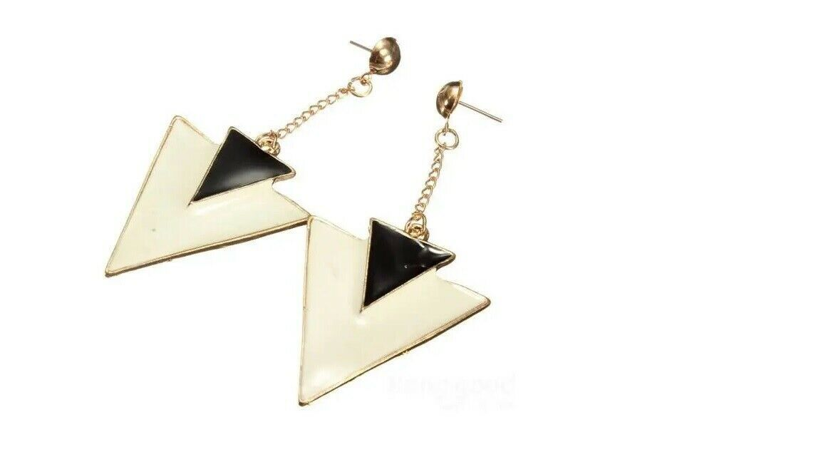 Primary image for Ear Drop Dangle Stud Earrings Double Triangle Geometry Black White Woman Fashion